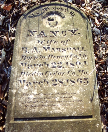 Nancy Nance Marshall tombstone.jpg (182945 bytes)